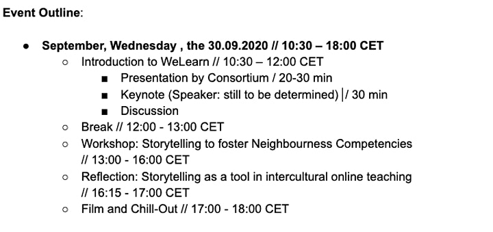 WeLearn: Intercultural Storytelling Event: Bild