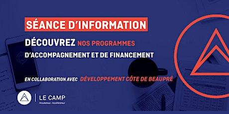 LE CAMP : une solution pour les entrepreneurs technos des MRC de Québec billets