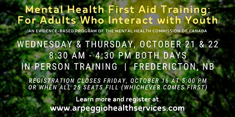 Mental Health First Aid Training: YOUTH - Fredericton, NB tickets