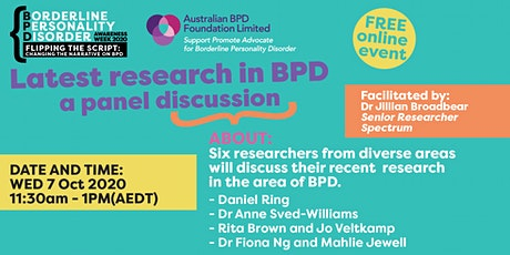 Latest research in BPD -  a panel discussion. tickets