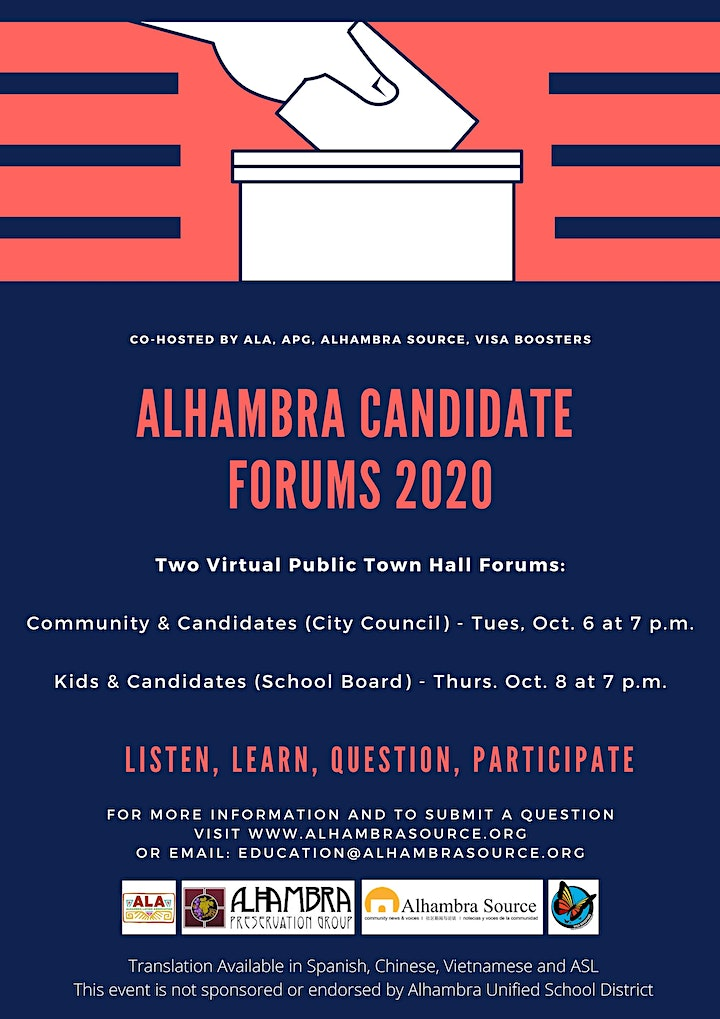 Community and Candidates Forum - Alhambra City Council image