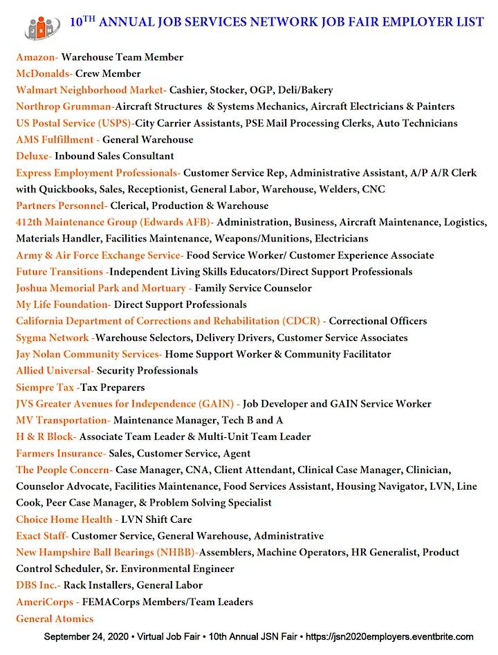 10th Annual Job Services Network Job Fair image