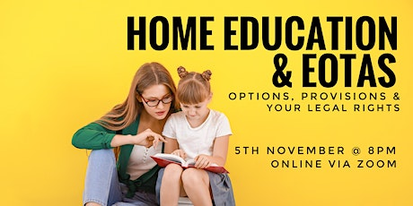 Home Education and EOTAS: options, provisions and your legal rights webinar tickets