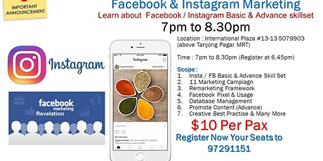 Facebook & Instagram Basic & Advance Class ($10 per Pax) Welcome All