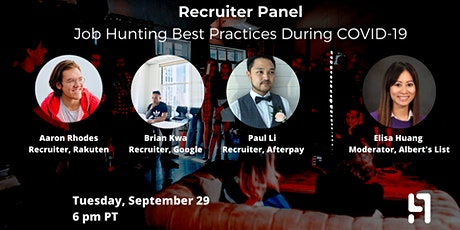 Recruiter Panel: Job Hunting Best Practices During COVID-19 tickets