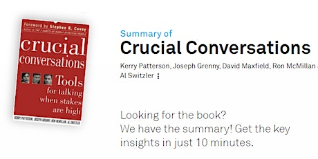 Book Summary: Crucial Conversations tickets