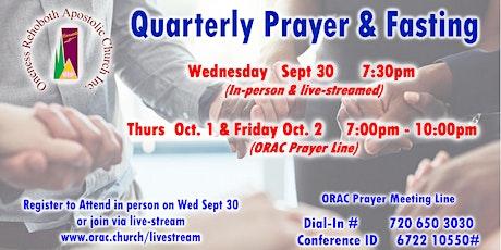 Quarterly Prayer & Fasting - Wednesday September 30 tickets