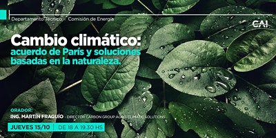 Conferencia DT: Cambio climático: acuerdo de París y soluciones basadas