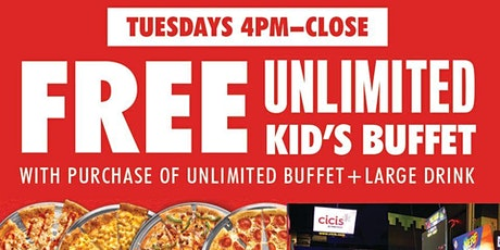 KIDS EAT FREE TUESDAYS AT CICIS - CLEARWATER tickets
