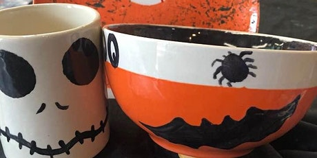 Kids  Halloween  plate bowl mug Painting at Crankpots Ceramic Studios tickets