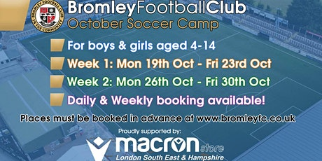 October Half Term Soccer Camp 2020 tickets