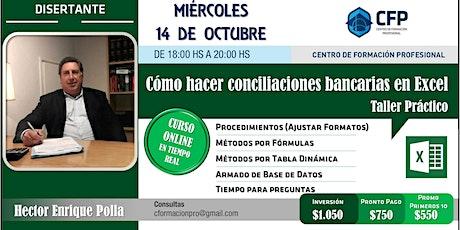 """""""Cómo hacer conciliaciones bancarias en Excel - Taller Práctico"""" tickets"""