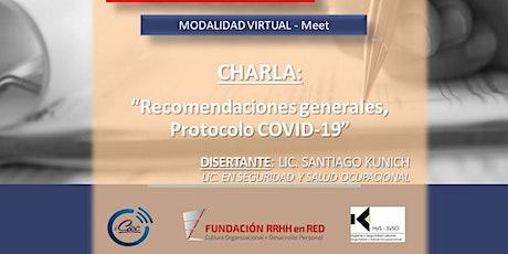 """Protocolo COVID-19 - Recomendaciones generales"" tickets"