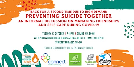 Preventing Suicide Together - an informal workshop for those aged 18-26 tickets