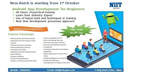 NIIT Qatar-Android App Development - (New Batch from 1st Oct) -10% Discount tickets
