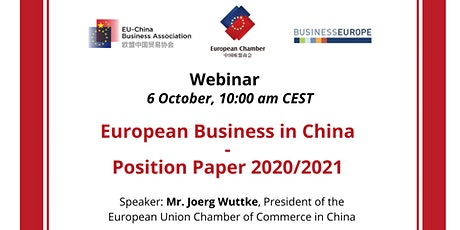 Webinar: European Business in China – Position Paper 2020/2021 tickets