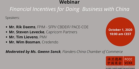 Webinar: Financial Incentives for Doing Business with China tickets