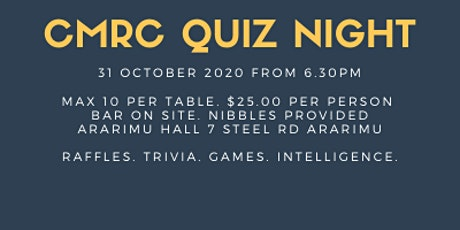 Counties Manukau Rowing Club QUIZ NIGHT 2020 **NEW DATE** tickets