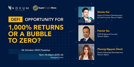 DeFi: Opportunity For 1,000% Returns or A Bubble to Zero? tickets