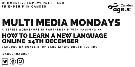 Online Languages-Multimedia Mondays with Age UK Camden tickets
