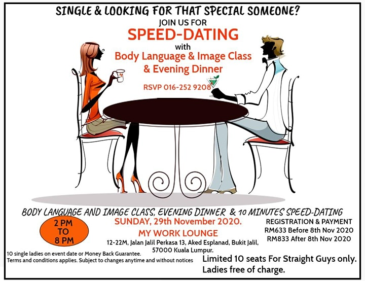 Speed Dating with Body Language & Image Class and Evening Dinner image