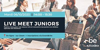 BeCode – Live meet Juniors  & Séance info, AI/Data Operator