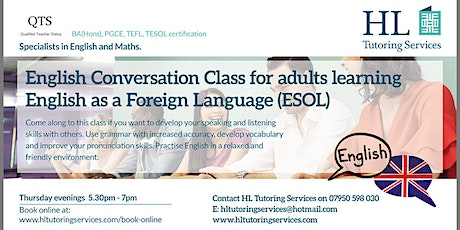Autumn 2 Online English Conversation Group Class for Adults ( E.S.O.L) X 6 tickets