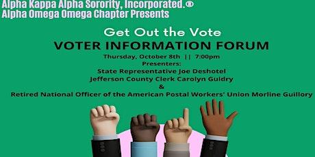 Alpha Omega Omega Chapter Get Out the Vote - Voter Information Forum tickets