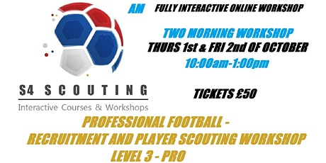 PROFESSIONAL FOOTBALL - PLAYER RECRUITMENT AND SCOUTING WORKSHOP - LEVEL 3 tickets