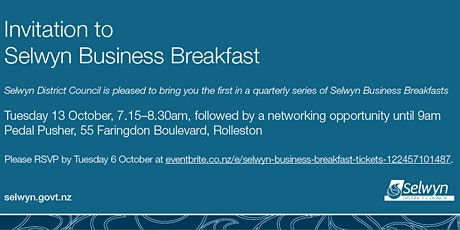 Selwyn Business Breakfast tickets