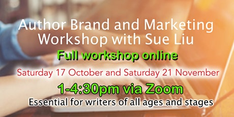 Author Brand and Marketing for writers - Saturday afternoon full workshop tickets