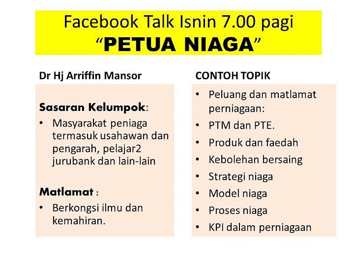 PETUA NIAGA   oleh Dr Arriffin Mansor  :   facebook talk 9.00 malam Isnin image
