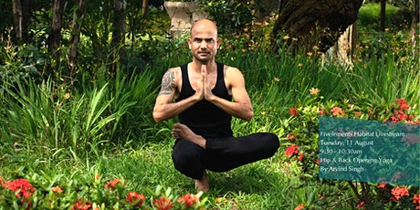Fivelements Livestream- Hip and Back Opening Yoga By Arvind Singh tickets