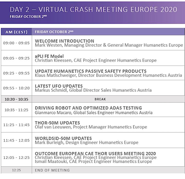 Virtual Crash Meeting 2020 - Humanetics Europe GmbH image