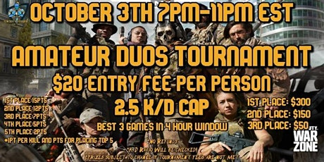 WARZONE DUOS TOURNAMENT 10/3 tickets