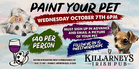 Paint your pet event at Kilarney's Tavern in HB tickets
