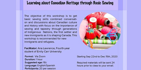 Learning about Canadian Heritage through Basic Sewing (Burnaby, BC) tickets