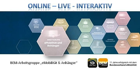 "ONLINE - BEM-Arbeitsgruppe ""eMobilität & Anhänger"" Oktober 2020 Tickets"
