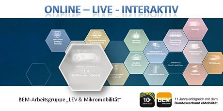 "ONLINE-BEM-Arbeitsgruppe ""LEV & Mikromobilität"" Oktober 2020 Tickets"