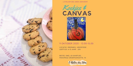 Koekjes & Canvas - Schilderworkshop kinderen - Kat op Pompoen tickets
