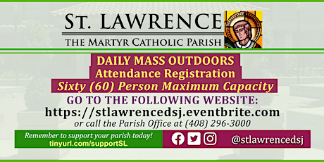 MONDAY, October 5, 2020 @ 8:30 AM DAILY Mass Registration tickets