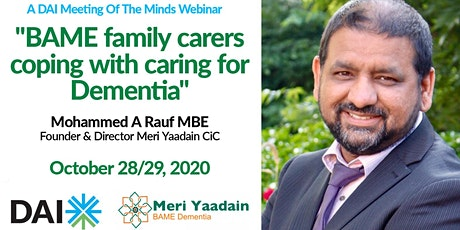 DAI Webinar: BAME family carers coping with caring for Dementia tickets