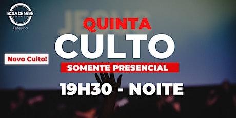 Culto Presencial - Quinta - NOITE - 01.10.2020 ingressos