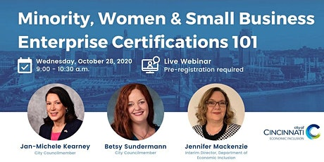 Minority, Women, and Small Business Enterprise Certifications 101 tickets