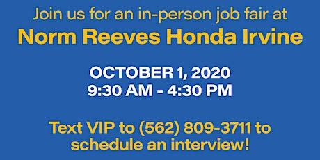 Norm Reeves Honda Irvine Career Fair tickets