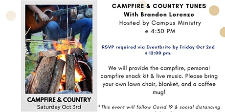 Campfire and Country Tunes- with Brandon Lorenzo. Hosted by Campus Ministry tickets