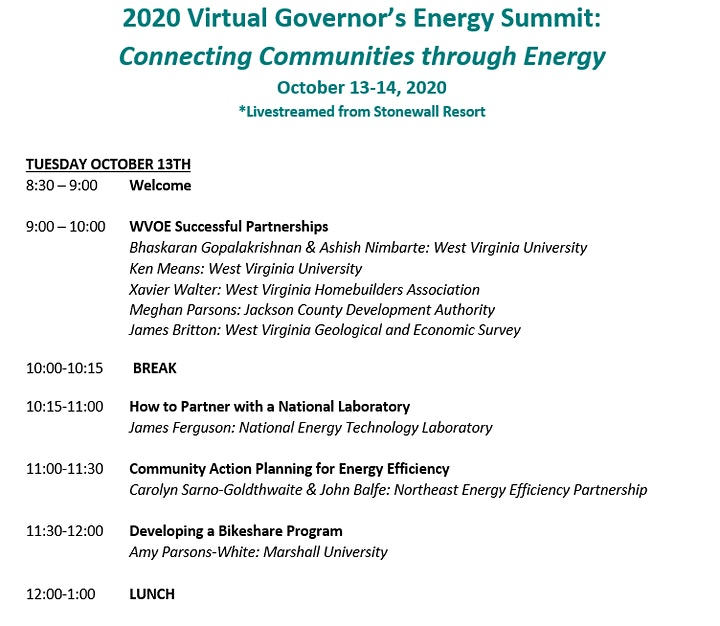 2020 Virtual  WV Governor's Energy Summit image