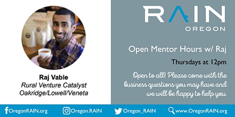 Open Mentor Hours w/Raj tickets