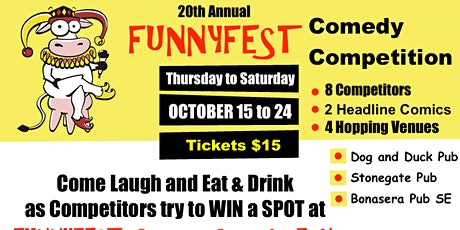 Comedy Competition - 3 Venues - 8 Competitors and 2 headliners per night billets