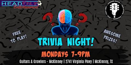 TRIVIA NIGHTS at Guitars & Growlers- Mckinney, TX tickets